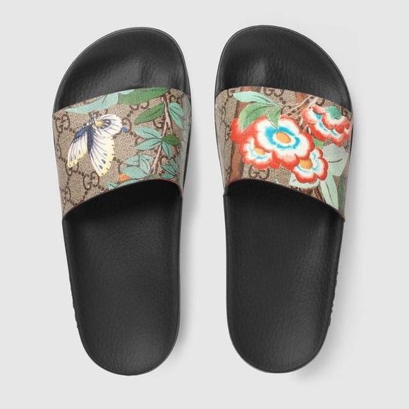 6fe0c4e439c0 Gucci Shoes - GUCCI Tian Butterfly Women s Slides Sandals 8   38